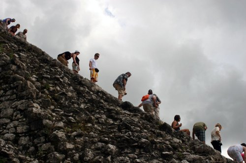Going down the pyramid in Coba, Mexico