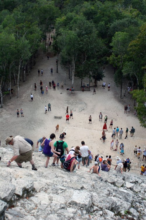 Looking down pyramid in Coba